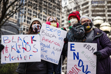 Joe Biden Photo - Black Lives Matter protestors gather in front of the Hennepin County Courthouse in Minneapolis Minn US on Wednesday April 21 2021 Protests have continued after former police officer Derek Chauvin was found guilty on all charges in the murder of George Floyd and Daunte Wright was killed by police conducting a traffic stop while Chauvin was being tried Credit Samuel Corum  CNPAdMedia
