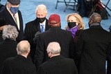 Bill Clinton Photo - Former US President Bill Clinton (L) and former US Secretary of State Hillary Clinton are seen seen before US president-elect Joe Biden is sworn in as the 46th US President on January 20 2021 at the US Capitol in Washington DC - Biden a 78-year-old former vice president and longtime senator takes the oath of office at noon (1700 GMT) on the US Capitols western front the very spot where pro-Trump rioters clashed with police two weeks ago before storming Congress in a deadly insurrection (Photo by Saul LOEB  POOL  AFP)AdMedia