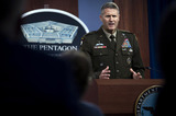 Afghanistan Evacuation Photo - Deputy Director of The Joint Staff for Regional Operations United States Army Major General William D Hank Taylor  briefs the media in the Pentagon Briefing Room Washington DC August 27 2021 Credit Department of Defense via CNPAdMedia