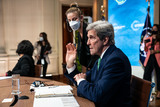 The Specials Photo - John Kerry the Special Presidential Envoy for Climate looks at his notes before the start of the virtual Leaders Summit on Climate in the East Room of the White House in Washington DC on April 23rd 2021 Credit Anna Moneymaker  Pool via CNPAdMedia