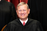 The Unit Photo - Chief Justice of the United States John G Roberts Jr sits during a group photo of the Justices at the Supreme Court in Washington DC on April 23 2021  Credit Erin Schaff  Pool via CNPAdMedia