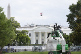Andrew Jackson Photo - Workers clean the Andrew Jackson statue in Lafayette Square near the White House in Washington DC US on Thursday June 11 2020  Additional fencing that had been added around the White House due to protests over the death of George Floyd is slowly being removed  Credit Stefani Reynolds  CNPAdMedia