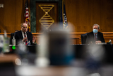 Alabama Photo - United States Senator Richard Shelby (Republican of Alabama) left speaks as Chairman US Senator Mike Crapo (Republican of Idaho) listens  during the US Senate Banking Housing and Urban Affairs Committee conformation hearing on Capitol Hill in Washington Tuesday May 5 2020 Credit Salwan Georges  Pool via CNPAdMedia