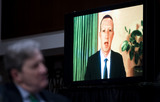 Kennedy Photo - Mark Zuckerberg Chief Executive Officer of Facebook testifies remotely as Sen John Kennedy R-La looks on during the Senate Judiciary Committee hearing on Breaking the News Censorship Suppression and the 2020 Election on Tuesday Nov 17 2020 Credit Bill Clark  Pool via CNPAdMedia