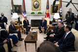Donald Trump Photo - President Donald Trump meets with  Abdullah bin Zayed bin Sultan Al Nahyan Minister of Foreign Affairs and International Cooperation of the United Arab Emirates in the Oval Office of the White House in Washington DC  Tuesday Sept 15  2020  Credit Doug Mills  Pool via CNPPresident Donald Trump meets with  Abdullah bin Zayed bin Sultan Al Nahyan Minister of Foreign Affairs and International Cooperation of the United Arab Emirates in the Oval Office of the White House in Washington DC  Tuesday Sept 15  2020  Credit Doug Mills  Pool via CNPAdMedia