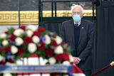 Bernie Sanders Photo - United States Senator Bernie Sanders (Independent of Vermont) pays his respects to US Capitol Police officer William Evans as he lies in honor at the US Capitol in Washington DC on Tuesday April 13 2021Credit Greg Nash  Pool via CNPAdMedia