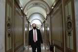 Alabama Photo - Senator Richard Shelby a Republican of Alabama wears a protective mask while walking through the US Capitol in Washington DC US on Saturday Feb 13 2021 The Senate voted to consider a request for witnesses at Donald Trumps impeachment trial injecting a chaotic new element that could end up prolonging proceedings that appeared to be on track to wrap up today Credit Stefani Reynolds - Pool via CNPAdMedia
