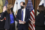 Kamala Harris Photo - United States Vice President Kamala Harris right swears in Samantha Power administrator of the United States Agency for International Development (USAID) alongside her husband Cass Sunstein holding the bible in the Eisenhower Executive Office Building in Washington DC US on Monday May 3 2021 The Senate confirmed Power who was an ambassador to the United Nations during the Obama administration on April 28 Credit Oliver Contreras  Pool via CNPAdMedia
