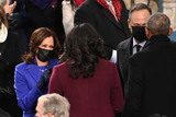 President Barack Obama Photo - US Vice President-elect Kamala Harris (L) salutes Former US First Lady Michelle Obama as US Second Gentleman Doug Emhoff (2nd R) meets Former US President Barack Obama before US President-elect Joe Biden is sworn in as the 46th US President on January 20 2021 at the US Capitol in Washington DC - Biden a 78-year-old former vice president and longtime senator takes the oath of office at noon (1700 GMT) on the US Capitols western front the very spot where pro-Trump rioters clashed with police two weeks ago before storming Congress in a deadly insurrection (Photo by Saul LOEB  POOL  AFP)AdMedia
