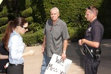 Casey Kasem Photo - Kerri Kasem Detective Ted Ball Policeat a protest involving Casey Kasems children brother and friends who want to see him but have been denied any contact  Private Location Holmby Hills CA 10-01-13