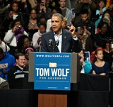 Tom Wolfe Photo - PHILADELPHIA PA USA - NOVEMBER 02 President Barack Obama Speaks at a Campaign Rally for Pennsylvania Democratic Gubernatorial Candidate Tom Wolf at The Liacouras Center at Temple University on November 02 2014 in Philadelphia Pennsylvania United States (Photo by Paul J FroggattFamousPix)