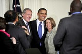 House Speaker Nancy Pelosi Photo - RESTRICTED NO NEW YORK OR NEW JERSEY NEWSPAPERS WITHIN A 75 MILE RADIUS OF NYCWashington DC - March 23 2010 -- United States Representative Ed Markey (Democrat of Massachusetts) left President Barack Obama center and US House Speaker Nancy Pelosi (Democrat of California) pose for a photo after the President signed the version of the health care bill that was passed by the US House of Representatives in the East Room of the White House in Washington DC on Tuesday March 23 2010Photo by Ron Sachs-CNP-PHOTOlinknet