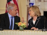 Benjamin Netanyahu Photo - United States Secretary of State Hillary Rodham Clinton shares some thoughts with Prime Minister Benjamin Netanyahu of Israel as she hosts the Relaunch of Direct Negotiations Between the Israelis and Palestinians in the Benjamin Franklin Room of the US Department of State on Thursday September 2 2010  Credit Ron Sachs  CNP(RESTRICTION NO New York or New Jersey Newspapers or newspapers within a 75 mile radius of New York City)