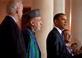 Asif Ali Photo - Washington DC - May 6 2009 -- United States President Barack Obama with President Hamid Karzai of Aghanistan President Asif Ali Zadari of Pakistan and Vice President Joseph Biden during a statement in the Grand Foyer of the White House Wednesday May 4 2009 Digital photo by Lawrence JacksonWhite House-CNP-PHOTOlinknet
