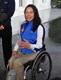 Alana Nichols Photo - Alana Nichols Paralympic Sit Skiier makes remarks to reporters after meeting United States President Barack Obama and first lady Michele Obama at the White House in Washington DC on Wednesday April 21 201Photo by Ron SachsPool-CNP-PHOTOlinknet