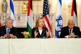 Mahmoud Abbas Photo - Washington DC 9022010RESTRICTED NEW YORKNEW JERSEY OUTNO NEW YORK OR NEW JERSEY NEWSPAPERS WITHIN A 75  MILE RADIUSSecretary Clinton hosts Abbas and Netanyahu peace talksSecretary of State Hillary Clinton hosts the re-launch of direct negotiations between Israeli Prime Minister Benjamin Netanyahu and Palestinian Authority President Mahmoud Abbas at the US State Department Secretary Clinton and the two leaders marked the start of the negotiations by making opening remarks to the mediaDigital photo by Elisa Miller-PHOTOlinknet