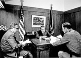 Henry A Kissinger Photo - Washington DC - November 7 1972 -- United States President Richard M Nixon center meets with his National Security Advisor Doctor Henry A Kissinger left and his deputy Brigadier General Alexander M Haig Jr right in his office on November 7 1972  On this day Nixon won his second term as President of the United StatesCredit White House via CNPPHOTOlinknet