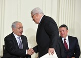 Abdullah II of Jordan Photo - Peace Talks8241JPGRESTRICTED NEW YORKNEW JERSEY OUTNO NEW YORK OR NEW JERSEY NEWSPAPERS WITHIN A 75 MILE RADIUS OF NYCPresident Mahmoud Abbas of the Palestinian Authority and Prime Minister Benjamin Netanyahu of Israel shake hands following remarks by Middle Eastern leaders in the East Room of the White House following their bi-lateral meetings  in Washington DC on Wednesday September 1 2010  The statements are in advance of the opening of the first direct talks in two years between Israel and the Palestinian Authority scheduled to begin at the State Department in Washington DC tomorrow  King Abdullah II of Jordan looks on from rightCredit Ron Sachs  Pool via CNPUnited States President Barack Obama and Middle Eastern leaders make statements in the East Room of the White House following their bi-lateral meetings  in Washington DC on Wednesday September 1 2010  The statements are in advance of the opening of the first direct talks in two years between Israel and the Palestinian Authority scheduled to begin at the State Department in Washington DC tomorrow  From left to right Prime Minister Benjamin Netanyahu of Israel President Hosni Mubarak of Egypt President Mahmoud Abbas of the Palestinian Authority and King Abdullah II of JordanPhoto by Ron SachsPoolCNP-PHOTOlinknet