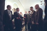 Eric Shinseki Photo - United States President George W Bush talks with the Chiefs of Staff of the Armed Forces after a meeting in the Cabinet Room of the White House in Washington DC on Wednesday October 24 2001 Pictured from left to right are Deputy Secretary of Defense Paul Wolfowitz US Navy Admiral Richard Mies US Army General Eric Shinseki US Marine General Peter Pace and US Air Force General Michael WilliamsMandatory Credit Eric Draper - White House via CNP
