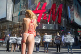 The Faces Photo - Photo by PETAstarmaxinccomSTAR MAX2018ALL RIGHTS RESERVEDTelephoneFax (212) 995-119611818 Shoppers outside HMs flagship store in New York City will get an eyeful on Thursday when a nearly naked PETA supporter will have her skin torn off in protest of the retailers continued use of leather Every leather item on HMs racks represents the nightmarish suffering and terrifying death of a sensitive cow says PETA Executive Vice President Tracy Reiman PETA is calling on HM to sell only high-quality vegan leather not animals skins PETAwhose motto reads in part that animals are not ours to wearnotes that the millions of cows whose skins are turned into leather endure dehorning and castration often without painkillers A PETA expos of the worlds largest leather processorfrom which HM has purchased in the pastrevealed that gentle cows and bulls are branded on the face electroshocked and beaten Animal agriculture which includes the leather industry is also responsible for 51 percent of all greenhouse-gas emissions