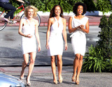 Annie  Ilonzeh Photo - Minka Kelly Rachael Taylor Annie Ilonzeh and Ramon Rodriguez film scenes for the new Charlies Angels television series on set in Miami Beach Kelly Taylor and Ilonzeh donned all-white dresses for the shoot and later strolled on set in some very casual attire The actors grabbed a meal and relaxed Minka whose dogs are on set spent some time with them before putting them back in her trailer Drew Barrymore star of the blockbuster Charlies Angels films is an executive producer of the show Miami Beach FL 31611