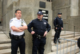 Court Officer Photo - The front of the Manhattan Criminal Court during the bail hearing of Dominique Strauss-Kahn who has been held on charges of sexual assault on May 19 2001 in New York City