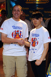 Takeru Kobayashi Photo - 2008 Nathans Famous Hot Dog Eating Champion Joey Chestnut and previous champion Takeru Kobayashi at the official weigh-in ceremony for the 94th Annual Nathans Famous Fourth of July International Hot Dog-Eating Contest at Macys Herald Square on July 2 2009 in New York City