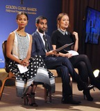 Aziz Ansari Photo - Zoe Saldana (left) Aziz Ansari  Olivia Wilde at the nominations announcement for the 2014 Golden Globe Awards at the Beverly Hilton HotelDecember 12 2013  Los Angeles CAPicture Paul Smith  Featureflash