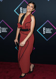 Shay Mitchell Photo - SANTA MONICA LOS ANGELES CA USA - NOVEMBER 11 Actress Shay Mitchell wearing a Toni Maticevski dress Manolo Blahnik shoes a Tyler Ellis clutch Vhernier earrings and Le Vian rings (styled by Monica Rose) arrives at the Peoples Choice Awards 2018 held at Barker Hangar on November 11 2018 in Santa Monica Los Angeles California United States (Photo by Xavier CollinImage Press Agency)