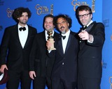 Armando Bo Photo - (l-r) Writer Armando Bo Writer Alexander Dinelaris Writerdirector Alejandro Gonzalez Inarritu and Writer Nicolas Giacobone Pose in the Press Room During the 72nd Annual Golden Globe Awards Held at the Beverly Hilton Hotel on January 11 2015 in Beverly Hillscalifornia UsaphotoleopoldGlobephotos