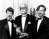 Akira Kurosawa Photo - George Lucas with Akira Kurosawa and Steven Spielberg at Academy Awards 3-26-1990 15837 Photo by Ampas-ipol-Globe Photos Inc
