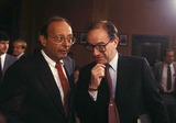 Al DAmato Photo - Alan Greenspan with AL Damato 7-21-1987 14594 Photo by James Colburn-ipol-Globe Photos Inc